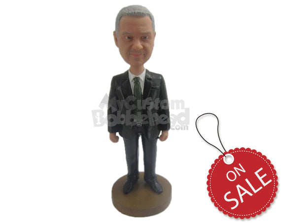 Custom Bobblehead Father Of The Bride Wearing Classic Formal Outfit Ready For The Wedding Ceremony - Wedding & Couples Father Of The Bride Personalized Bobblehead & Cake Topper