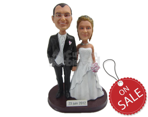 Custom Bobblehead Lovely Wedding Couple In Their Wedding Costume - Wedding & Couples Bride & Groom Personalized Bobblehead & Cake Topper