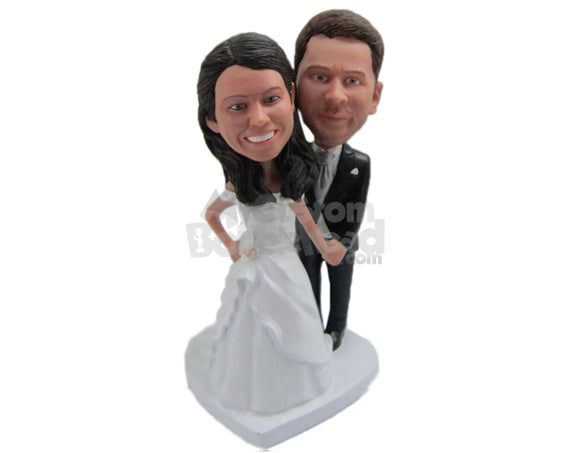 Custom Bobblehead Bride And Groom In Their Wedding Attire Ready For Photo Shoot - Wedding & Couples Bride & Groom Personalized Bobblehead & Cake Topper