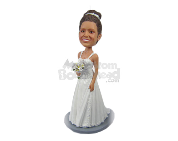 Custom Bobblehead Beautiful Bride In Gorgeous Gown Holding A Bouquet - Wedding & Couples Brides Personalized Bobblehead & Cake Topper