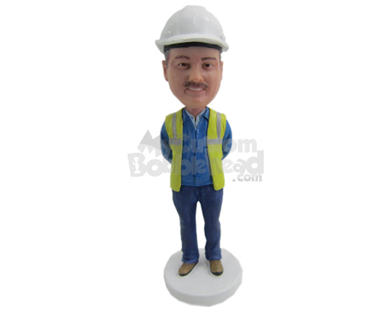Custom Bobblehead Architect Wearing A Jacket And Jeans Working In A Project - Careers & Professionals Architects & Engineers Personalized Bobblehead & Cake Topper