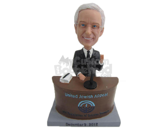 Custom Bobblehead Cool Businessman Wearing Formal Outfit Ready For A Speech - Careers & Professionals Corporate & Executives Personalized Bobblehead & Cake Topper