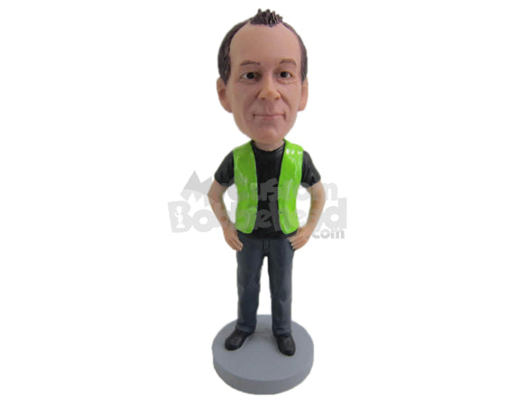 Custom Bobblehead Casual Dude Wearing A Coat Over A T-Shirt - Careers & Professionals Corporate & Executives Personalized Bobblehead & Cake Topper