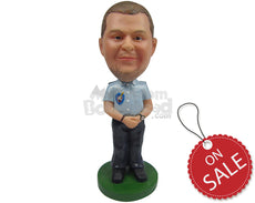 Custom Bobblehead Police Dude In His Cool Law Enforcement Outfit - Careers & Professionals Arm Forces Personalized Bobblehead & Cake Topper