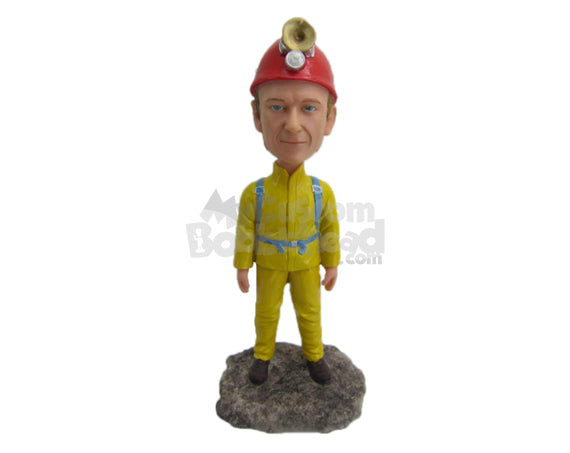Custom Bobblehead Firefighter Ready To Fight The Fire - Careers & Professionals Firefighters Personalized Bobblehead & Cake Topper