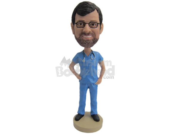 Custom Bobblehead Cool Doctor In T-Shirt And Pants Giving A Pose - Careers & Professionals Medical Doctors Personalized Bobblehead & Cake Topper