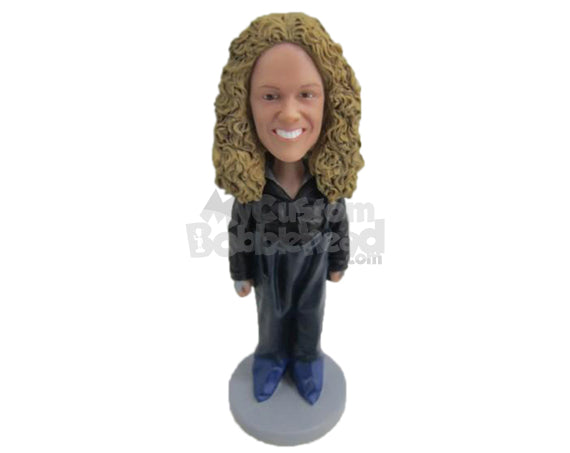 Custom Bobblehead Female Factory Worker In Her Rubber Outfit - Careers & Professionals Corporate & Executives Personalized Bobblehead & Cake Topper