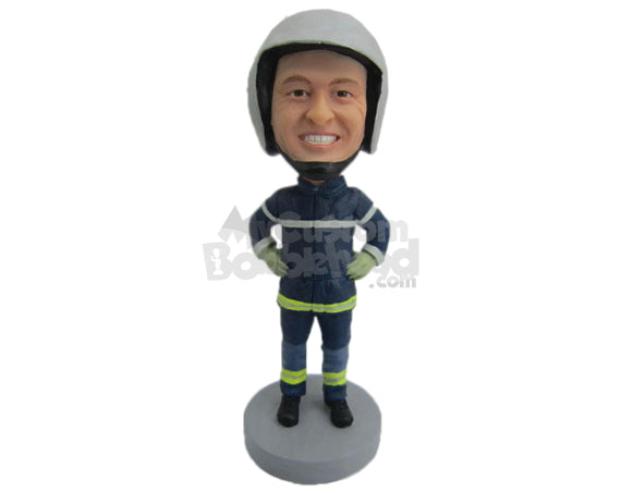 Custom Bobblehead Firefighter Ready To Go To Action If Needed - Careers & Professionals Firefighters Personalized Bobblehead & Cake Topper