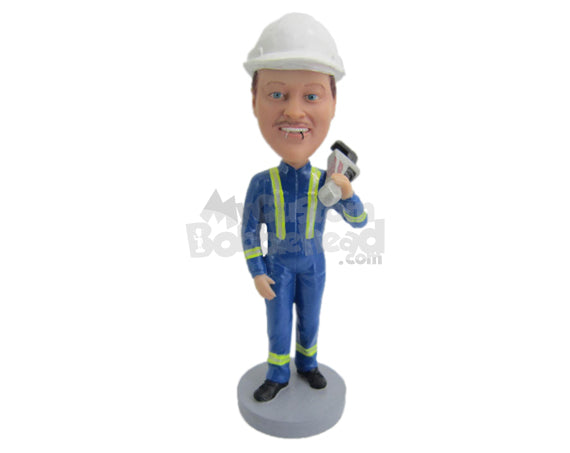 Custom Bobblehead Male Engineer In Uniform With A Work Equipment - Careers & Professionals Firefighters Personalized Bobblehead & Cake Topper