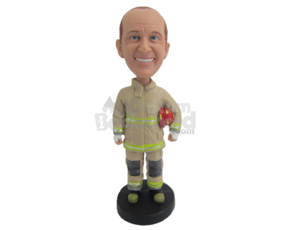 Custom Bobblehead Firefighter Full Ready At Your Service - Careers & Professionals Firefighters Personalized Bobblehead & Cake Topper