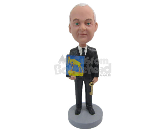 Custom Bobblehead Corporate Man With Phot And Key In Hand - Careers & Professionals Corporate & Executives Personalized Bobblehead & Cake Topper