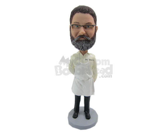 Custom Bobblehead Cook Wearing A Apron Over His Shirt - Careers & Professionals Chefs Personalized Bobblehead & Cake Topper