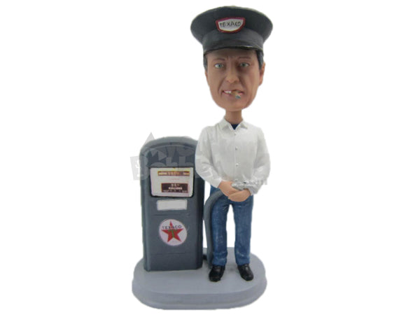 Custom Bobblehead Gas Station Staff Ready To Fill Your Car - Careers & Professionals Casual Males Personalized Bobblehead & Cake Topper