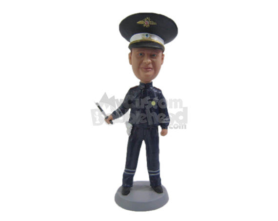 Custom Bobblehead Cool Police Officer In Uniform - Careers & Professionals Arm Forces Personalized Bobblehead & Cake Topper