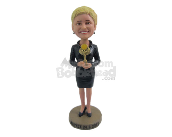 Custom Bobblehead Corporate Woman Wearing Trendy Jacket And High Heels Receives An Award - Careers & Professionals Corporate & Executives Personalized Bobblehead & Cake Topper
