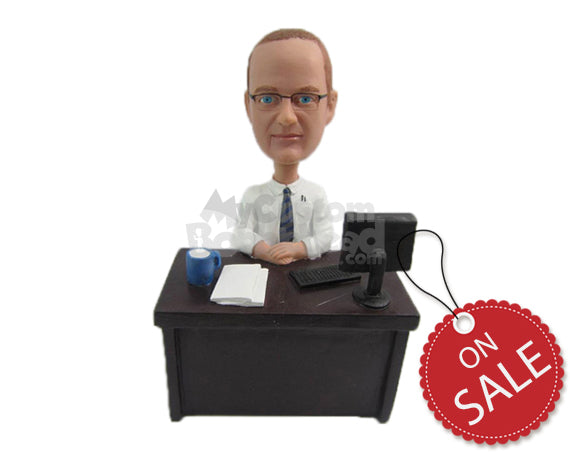 Custom Bobblehead Corporate Male With A Tie Working In His Desk - Careers & Professionals Corporate & Executives Personalized Bobblehead & Cake Topper