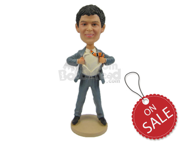 Custom Bobblehead Corporate Fella Tearing His Shirt - Careers & Professionals Corporate & Executives Personalized Bobblehead & Cake Topper