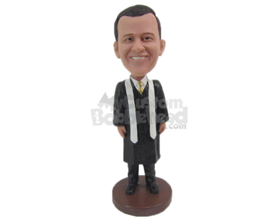 Custom Bobblehead Catholic Priest In His Religious Outfit - Careers & Professionals Religious Personalized Bobblehead & Cake Topper