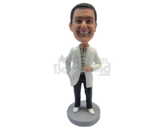 Custom Bobblehead Cool Doctor Wearing His Medical Attire - Careers & Professionals Medical Doctors Personalized Bobblehead & Cake Topper