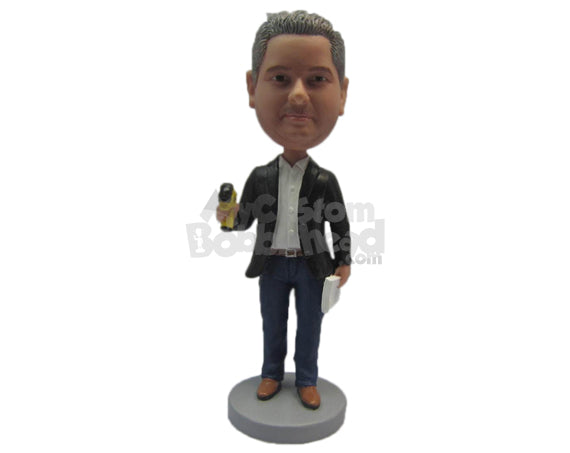 Custom Bobblehead Cool Dude Engineer Wearing Suit And Jeans - Careers & Professionals Architects & Engineers Personalized Bobblehead & Cake Topper