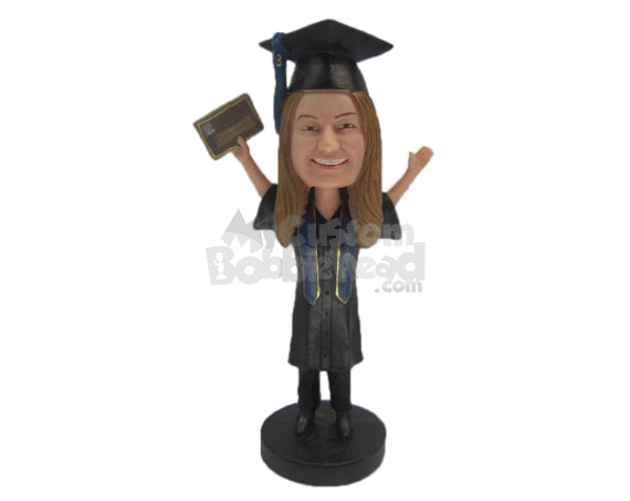 Custom Bobblehead Graduate Girl Wearing Elegant Short Gown Holding Certificate In Her Hand - Careers & Professionals Graduates Personalized Bobblehead & Cake Topper