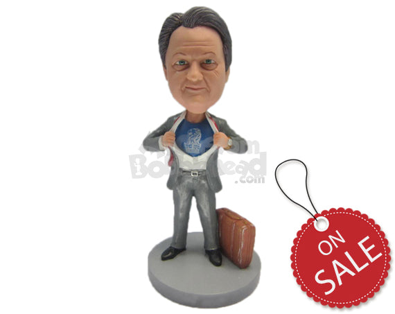 Custom Bobblehead Cool Super Guy Getting Rid Of Formal Outfit To Start The Action - Careers & Professionals Corporate & Executives Personalized Bobblehead & Cake Topper