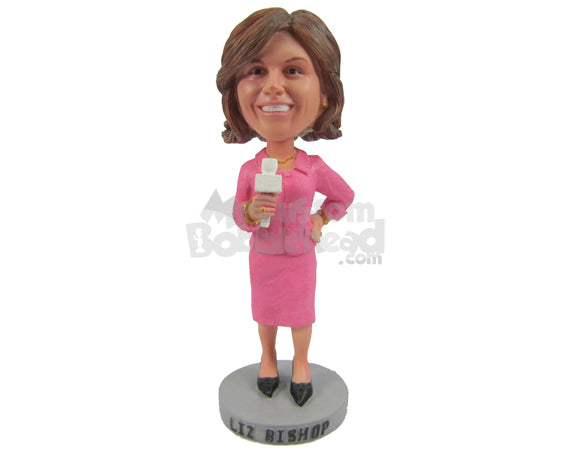 Custom Bobblehead Girl Reporter Reporting In Elegant Outfit - Careers & Professionals Reporters Personalized Bobblehead & Cake Topper