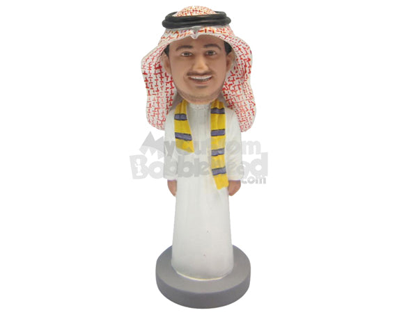 Custom Bobblehead Cool Dude Wearing A Juba With A Scarf Around His Neck - Careers & Professionals Religious Personalized Bobblehead & Cake Topper