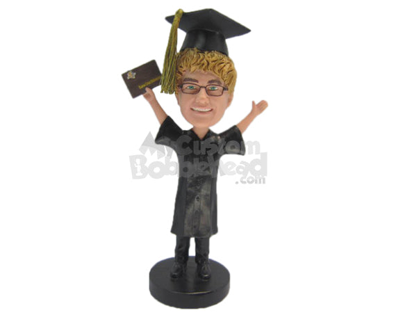 Custom Bobblehead Male Graduate With Both Hands In The Air - Careers & Professionals Graduates Personalized Bobblehead & Cake Topper