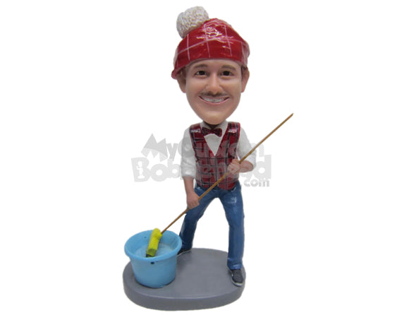 Custom Bobblehead Male Cleaner Wearing A Waist Coat And A Broom In His Hand - Careers & Professionals Cleaner Personalized Bobblehead & Cake Topper