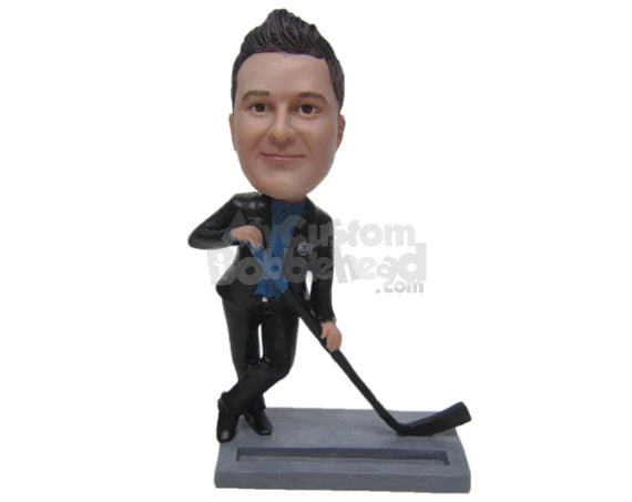 Custom Bobblehead Cool Businessman Dude In Formal Outfit Posing With A Gold Wedge - Careers & Professionals Corporate & Executives Personalized Bobblehead & Cake Topper
