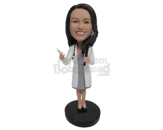 Custom Bobblehead Female Doctor Holding A Syringe In Her Hand - Careers & Professionals Medical Doctors Personalized Bobblehead & Cake Topper