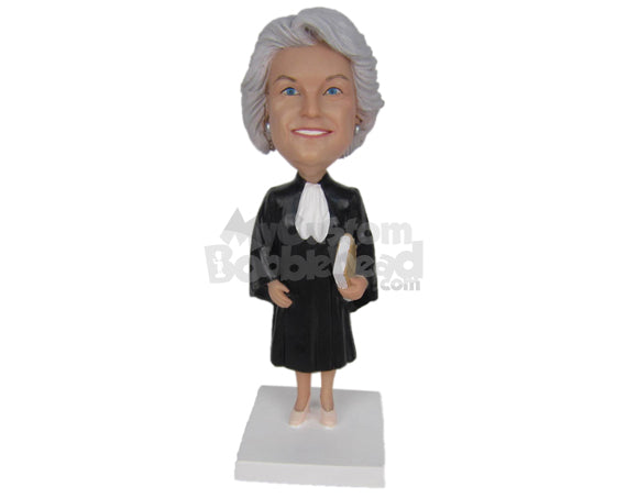 Custom Bobblehead Female Lawyer In Court Dress And High Heels - Careers & Professionals Lawyers Personalized Bobblehead & Cake Topper