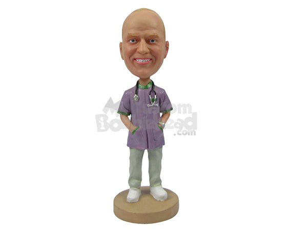 Custom Bobblehead Cool Doctor In His Attire With Both Hands In His Medical Coat - Careers & Professionals Medical Doctors Personalized Bobblehead & Cake Topper