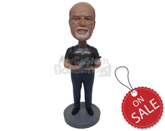 Custom Bobblehead Engineer Dude Working With His Gadget Wearing T-Shirt And Jeans - Careers & Professionals Architects & Engineers Personalized Bobblehead & Cake Topper