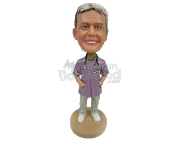 Custom Bobblehead Cool Male Doctor Wearing A Lab Coat With Both His Hand Inside His Pockets - Careers & Professionals Medical Doctors Personalized Bobblehead & Cake Topper
