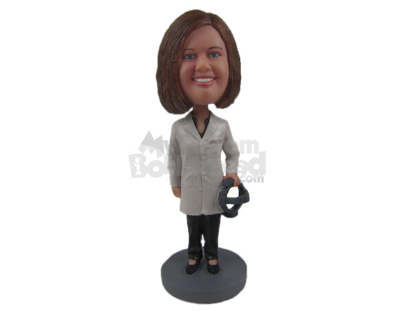 Custom Bobblehead Female Optometrist In Her Medical Attire With A Prop In Her Hand - Careers & Professionals Optometrists Personalized Bobblehead & Cake Topper