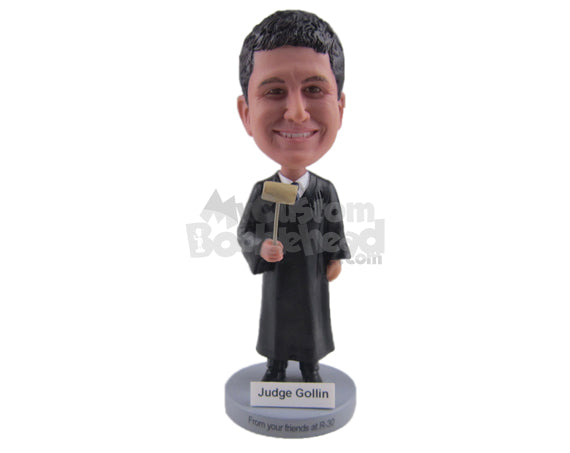 Custom Bobblehead Male Court Judge Wearing His Legal Attire Posing With Gable In His Hand - Careers & Professionals Lawyers Personalized Bobblehead & Cake Topper