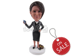 Custom Bobblehead Corporate Lady Showing Her Phone Wearing A Stylish Suit And Short Skirt - Careers & Professionals Corporate & Executives Personalized Bobblehead & Cake Topper