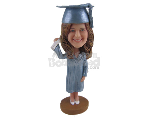 Custom Bobblehead Graduate Chick Wearing Stylish Gown And Heels With Certificate In Her Hand - Careers & Professionals Graduates Personalized Bobblehead & Cake Topper