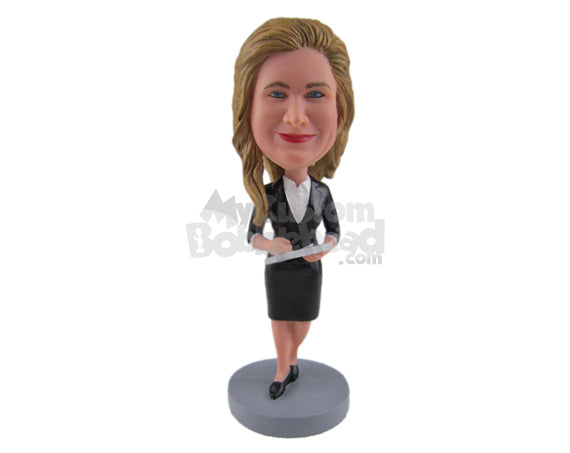 Custom Bobblehead Corporate Girl In Her Elegant Formal Outfit Making Some Note - Careers & Professionals Corporate & Executives Personalized Bobblehead & Cake Topper