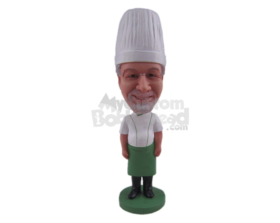 Custom Bobblehead Male Chef In His Cooking Outfit And Boots - Careers & Professionals Chefs Personalized Bobblehead & Cake Topper