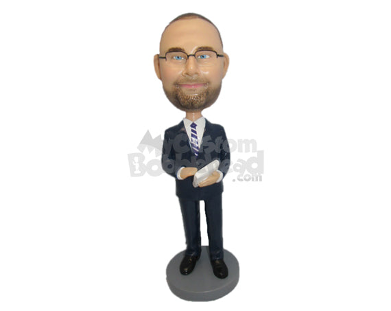 Custom Bobblehead Cool Businessman Wearing Suit And Boots Making Some Note - Careers & Professionals Corporate & Executives Personalized Bobblehead & Cake Topper