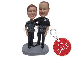 Custom Bobblehead Police Couple In Their Uniform Embracing Each Other Posing For A Picture - Careers & Professionals Arm Forces Personalized Bobblehead & Cake Topper