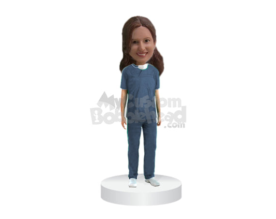 Custom Bobblehead Female Doctor In Medical Outfit Ready For A Surgery - Careers & Professionals Medical Doctors Personalized Bobblehead & Cake Topper