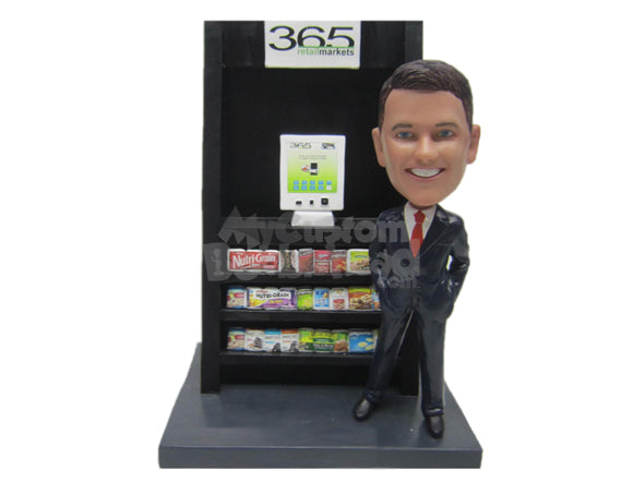 Custom Bobblehead Businessman In Elegant Suit Advertising Vending Machine - Careers & Professionals Corporate & Executives Personalized Bobblehead & Cake Topper