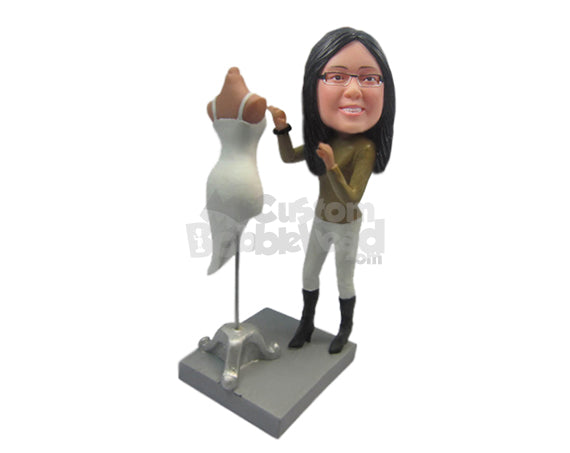 Custom Bobblehead Fashion Designing Girl Wearing T-Shirt With Long Boots Making A Design - Careers & Professionals Fashion Designer Personalized Bobblehead & Cake Topper
