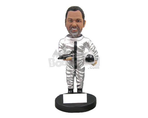 Custom Bobblehead Male Astronaut In His Space Suit Holding The Space Shuttle - Careers & Professionals Astronauts Personalized Bobblehead & Cake Topper