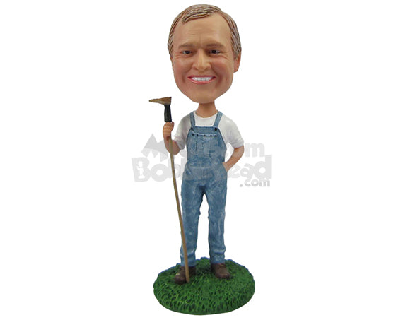Custom Bobblehead Gardener In Overall Ready To Cultivate - Careers & Professionals Gardener Personalized Bobblehead & Cake Topper