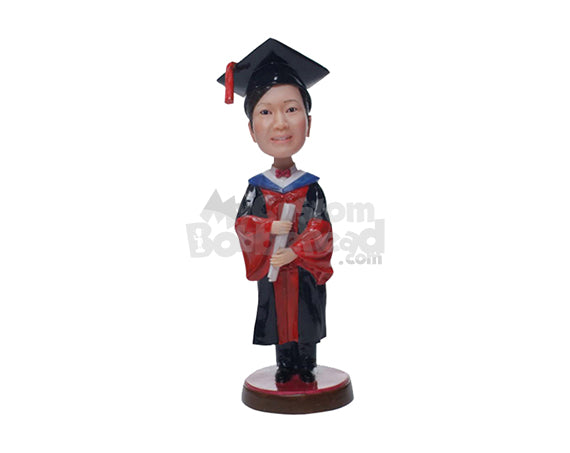 Custom Bobblehead Graduate Girl In A Gown With Certificate In Her Hand - Careers & Professionals Graduates Personalized Bobblehead & Cake Topper